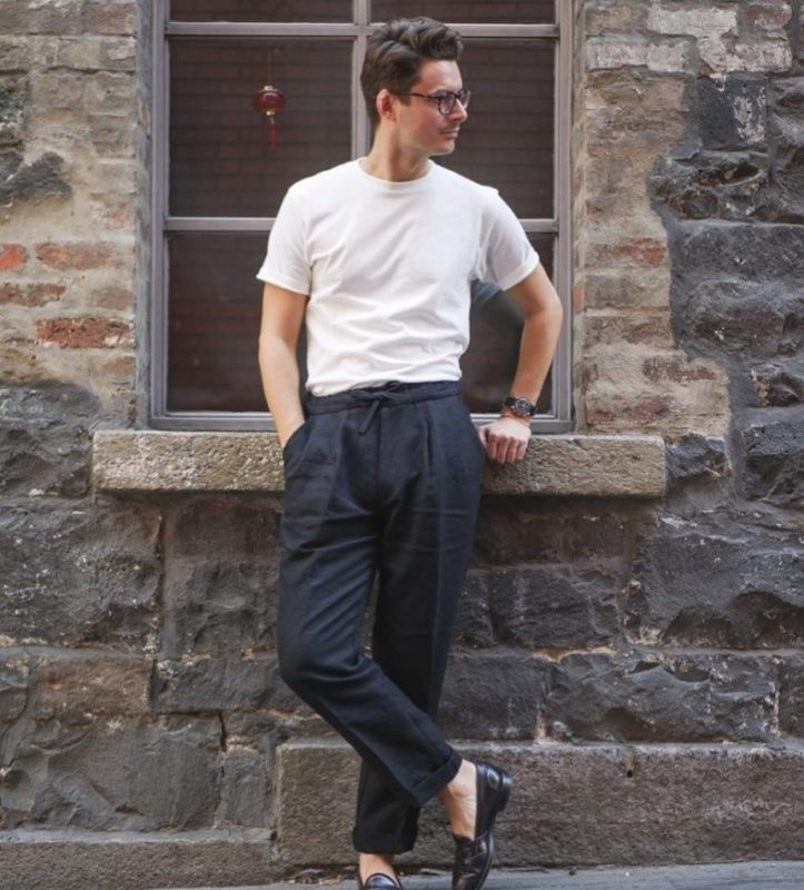 pantalon lin bleu marine