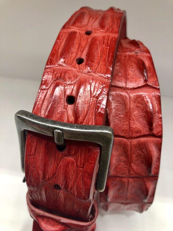 Ceinture en cuir de crocodile Rouge - Post & Co