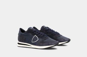 sneakers daim veau bleu philippe model