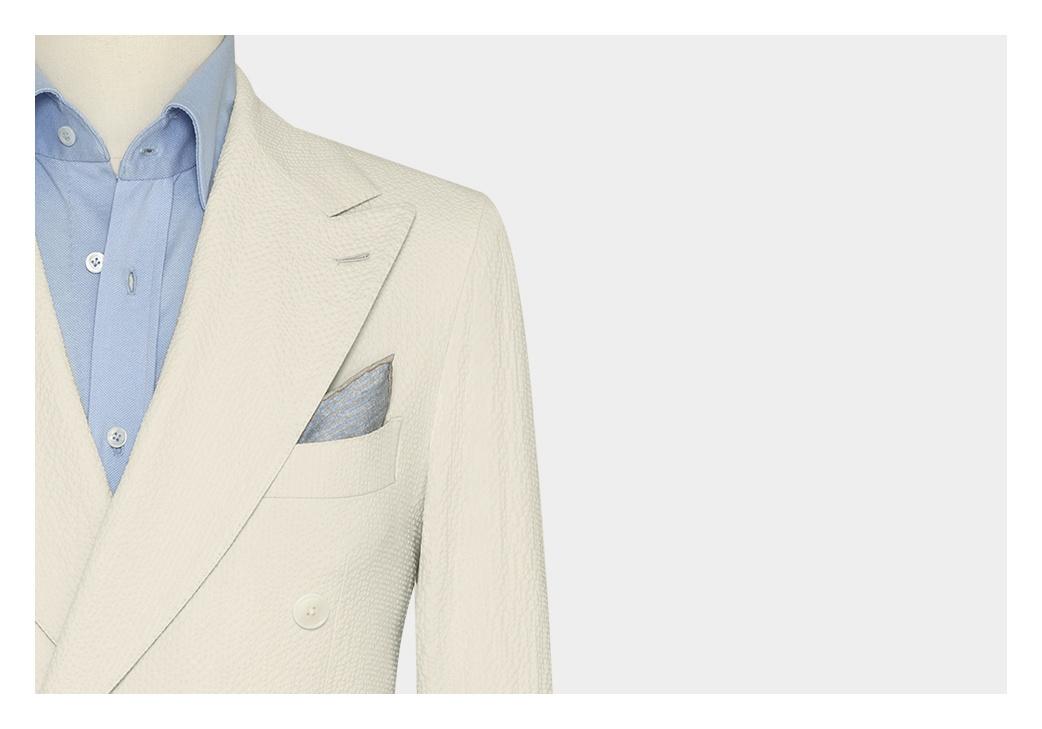 Costume seersucker croise blanc 1